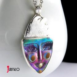 tytanowy,twarz,wisior,repusowana,wyjątkowy - Wisiory - Biżuteria