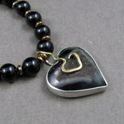 naszyjnik,agat,onyks srebro, - Naszyjniki - Biżuteria