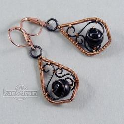 wire wrapping,kolczyki,unikat,onyks,miedź - Kolczyki - Biżuteria