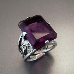 pierścionek z naturalnym ametystem - Pierścionki - Biżuteria