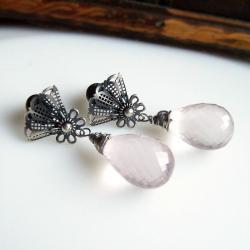 pastelowe,różowe,wyraziste,koronkowe - Kolczyki - Biżuteria