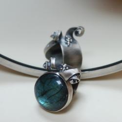 fantazyjny,intrygujący,niebieski,labradoryt - Pierścionki - Biżuteria