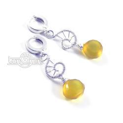 wire wrapping,kolczyki,unikat,żółte - Kolczyki - Biżuteria
