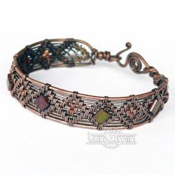 miedziana bransoleta,wire wrapping,miedź,unikat - Bransoletki - Biżuteria