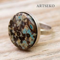 Srebrny pierścionej z jaspisem cesarskim - Pierścionki - Biżuteria