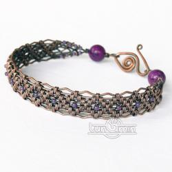 wire wrapping,miedź,bransoleta,fioletowa - Bransoletki - Biżuteria