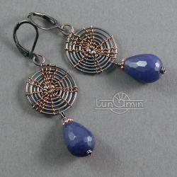 wire wrapping,kolczyki,unikat,miedź - Kolczyki - Biżuteria
