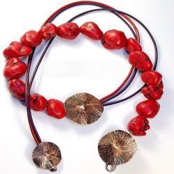 jesienny,czerwony,subtelny,ciekawy - Naszyjniki - Biżuteria