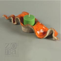 lampion,świecznik,rękodzieło,pomarańczowy - Ceramika i szkło - Wyposażenie wnętrz