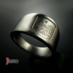 tytanowy,sygnet,orzeł,obrączka,męski - Dla mężczyzn - Biżuteria