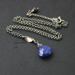 srebro,naszyjnik,granatowy,lapis,oksydowana,fado - Wisiory - Biżuteria