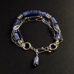 bransoletka ze srebra i lapisu - Bransoletki - Biżuteria