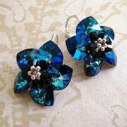 Midnight Flower - plecione kolczyki Swarovski - Kolczyki - Biżuteria