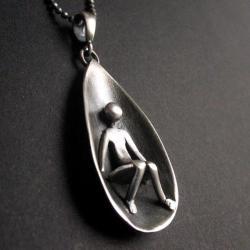 srebro,wisior,art clay,fiann - Wisiory - Biżuteria