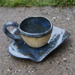 filiżanka,komplet,liść - Ceramika i szkło - Wyposażenie wnętrz