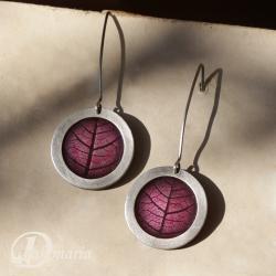 geometryczny,liść,jesienny,fioletowy,winogrona - Kolczyki - Biżuteria