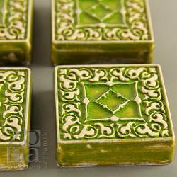 dekory,kafle,ornament,ceramika,zielony - Ceramika i szkło - Wyposażenie wnętrz