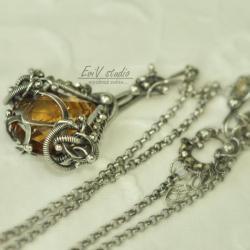 srebro,naszyjnik,wisior,wire-wrapping,słońce - Naszyjniki - Biżuteria