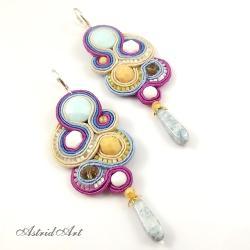 sutasz,efektowne kolczyki z kwarcami - Kolczyki - Biżuteria