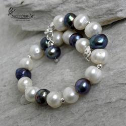 bransoleta,elegancka,perła,srebro - Bransoletki - Biżuteria