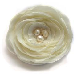 broszka,satyna,elegancka,perły,romantyczna - Broszki - Biżuteria