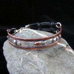 metaloplastyka,bransoletka,srebro,miedź - Bransoletki - Biżuteria