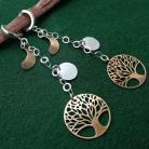 Kolczyki kolczyki,srebrno-złote,drzewka,łańcuszki