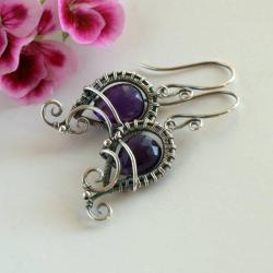kolczyki,wire-wapping,z ametystem - Kolczyki - Biżuteria