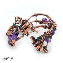 pleciona bransoleta z ametystami - Bransoletki - Biżuteria