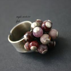 srebro,pierścionek,oksydowany,fado,fioletowybordow - Pierścionki - Biżuteria