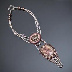 haft koralikowy,naszyjnik,haft - Naszyjniki - Biżuteria