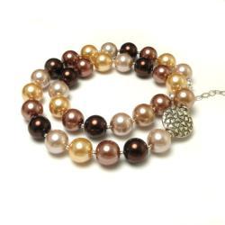 naszyjnik,perły,brązoby,seashell,elegancki - Naszyjniki - Biżuteria