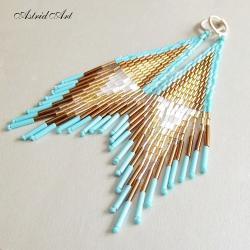 indiańskie kolczyki z koralików - Kolczyki - Biżuteria