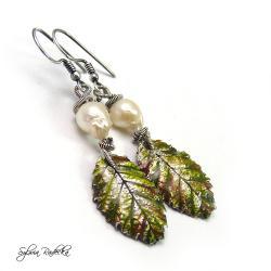 kolczyki liście z perłą Akoya - Kolczyki - Biżuteria