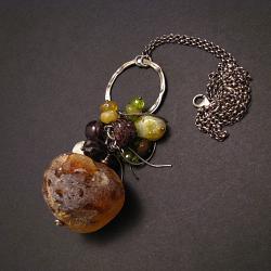 wisior,bursztynowy,surowy,asymetryczny - Wisiory - Biżuteria