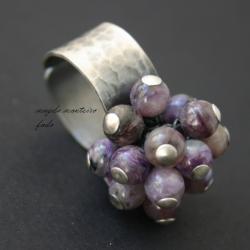 srebro,zielone,zielony,fioletowy,oksydowany,czaroi - Pierścionki - Biżuteria