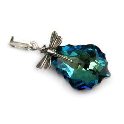 swarovski baroque bermuda blue ważka - Wisiory - Biżuteria