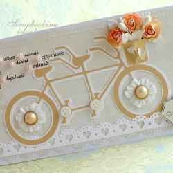ślub,rower,tandem,kwiaty,bukiet,koraliki - Kartki okolicznościowe - Akcesoria
