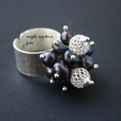 pierscionek,srebro,perły,fado - Pierścionki - Biżuteria