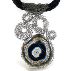 naszyjnik,elegancki,romantyczny,szydełko,agat - Kolczyki - Biżuteria
