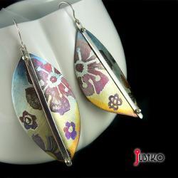 tytanowe,lekkie,kolorowe,kwiaty,liście - Kolczyki - Biżuteria