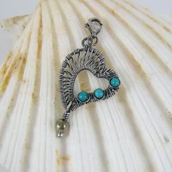 charms,zawieszka,srebro oksydowane,serce - Charms - Biżuteria