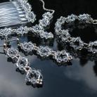 Komplety ekskluzywny komplet bizuterii ślubnej srebro