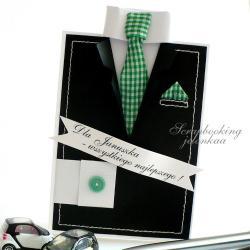 garnitur,krawat,kartka,dla niego,mężczyzna - Kartki okolicznościowe - Akcesoria
