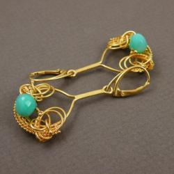 kolczyki,wrapping,złocone,ekskluzywne,chalcedon - Kolczyki - Biżuteria
