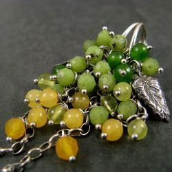 wiosenne,nefryt,listek - Kolczyki - Biżuteria