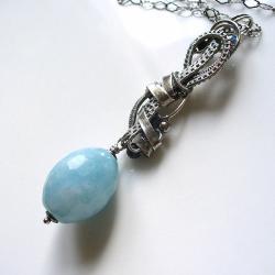 długi,naszyjnik,jedwab,błękitny,turkus - Naszyjniki - Biżuteria