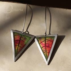 trójkąty,jesienne,czerwony,natura,ciepłe,liść - Kolczyki - Biżuteria