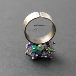 pierscionek,srebro,fado,topaz,ametyst - Pierścionki - Biżuteria
