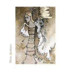 anioł,grafika,na ścianę,obrazek,prezent,kobieta, - Ilustracje, rysunki, fotografia - Wyposażenie wnętrz
